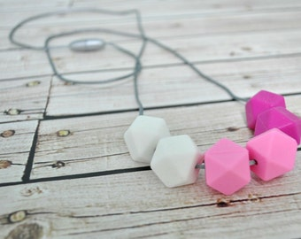 Silicone Teething Necklace - Nursing Necklace - Modern Necklace for Mom - Pink Teether