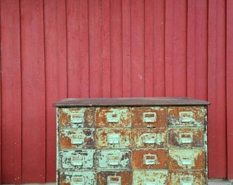 Vintage Metal Library Card Catalog Cabinet.  Perfect for a kitchen island.