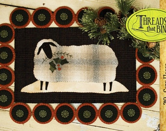 Sheep Candle Mat or Penny Rug Wool Applique Pattern #TTB 210 Cozy Fleece