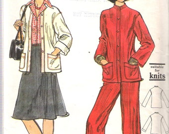 "Vintage 1975 Vogue 9083 Misses Jacket, Pants and Skirt, Suitable for Knits, Sewing Pattern Size 14 Bust 36"" UNCUT"
