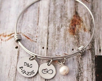 Infinity Bracelet - Wedding - Anniversary - Initials and Date - Freshwater Pearl - Gift for the Bride - Wire Bangle - Valentines Day
