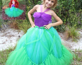 Princess Ariel Inspired Matching Girl and Doll Tutu Dresses