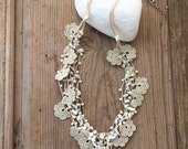 Beaded Bib Necklace, Beige Crochet Statement Necklace, Bib Necklace, Beadwork, ReddApple, Handmade Beaded Jewelry, Fast Delivery