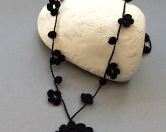 Dragonfly Necklace, Black Choker, Boho Dragonfly Pendant, Black Oya Crochet Necklace, Gothic Necklace, Crochet Jewelry, ReddApple