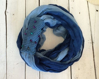 Circle Scarf, Blue Cuff Scarf, Boho Cotton Scarf, Infinity Scarf, Tie Dye Ombre Scarf, Summer Cotton Scarf, Beaded Loop Scarf, Women's Gift