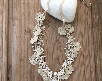 Multistrand Necklace, Crochet Necklace, Beaded Bib Collar, Unique Boho Necklace, Women's Gift, Oya Beaded Necklace, Statement Necklace