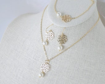 Gold Flower and Ivory Pearl Necklace Earring Bracelet Set - Gold 16K Chain - Bridesmaid Set