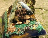 Medium Orgonite Pyramid // Copper Wrap Selenite Crystal Magic Orgone Generator