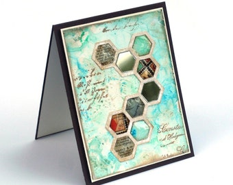 Mosaic blank card, distressed turquoise honeycomb collage mixed media greeting card, birthday card