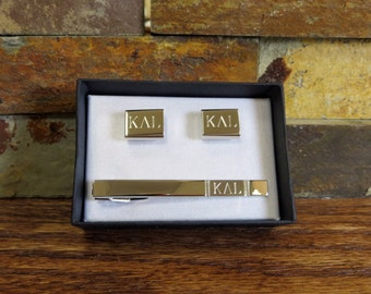8abb00fb47f9 Personalized Tie Clip w/ Cuff Links Monogram- Silver Toned- Groomsmen-  Gifts for