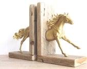Rustic Driftwood Breyer Horse Bookends Gold