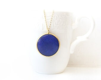 Blue Round Gold Plated Jade Stone Necklace