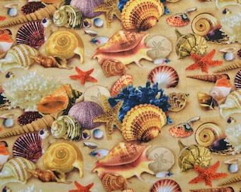 Elizabeth's Studio Fabric Seashell Sea Shell Sand Dollar Ocean Landscape Medley  BTY Cotton Sewing Quilting