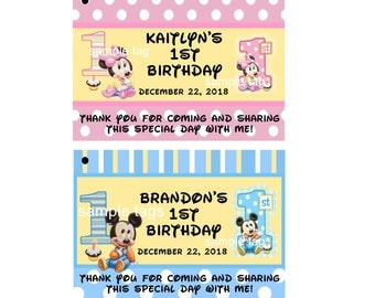 Unique Personalized Baby Mickey or Baby Minnie First Birthday Party Favor Gift Tags