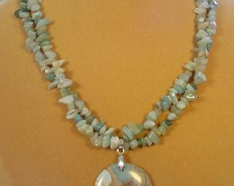 "Beautiful 19"" Amazonite and Sea Sediment Pendant Necklace - NM446"