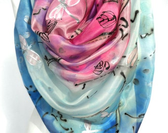 Hand Painted Silk Scarf. Square Scarf. Art to wear. Handmade Unique gift. Floral Silk Painting. Pink Silk Shawl 35x35in Ready2Ship