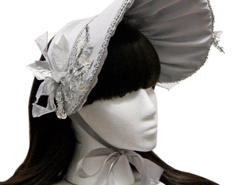 Beautiful Silver Winter Ice Princess Bonnet - Made to Order
