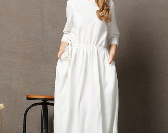 White Elegant  Linen Maxi Dress C585