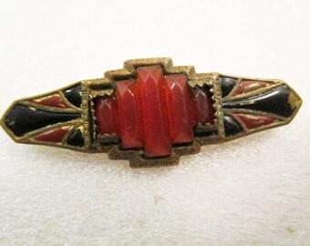 SALE! Antique Art Deco Carnelian Inlay Brass Pin/Brooch