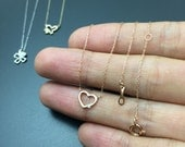 Open heart necklace Dainty diamond necklace Solid pink gold necklace