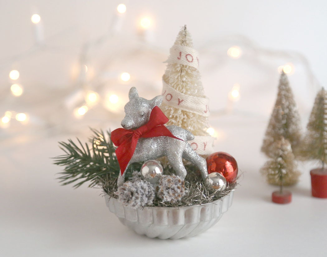 Vintage style christmas decoration silver by theheirloomshoppe for Antique christmas tree decoration