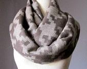 Oversized Houndstooth scarf, buff  beige scarf, infinity houndstooth scarf, taupe scarf, chunky winter scarf