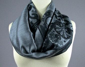 Pashmina  infinity scarf , Gray scarf , floral scarf,  silky scarf