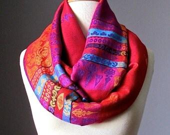 Red infinity scarf, pashmina infinity scarf, Christmas scarf, bright  scarf, chunky scarf, handmade scarf