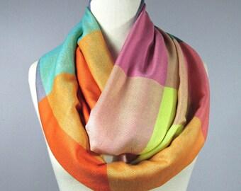 Orange scarf - yellow scarf - Check infinity scarf -  aqua  scarf - pashmina scarf