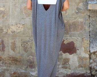 Caftan dress, Backless Dress , Maxi Dress , Oversized dress, Sleeveless dress , Open back dress, Grey Dress, Party dress