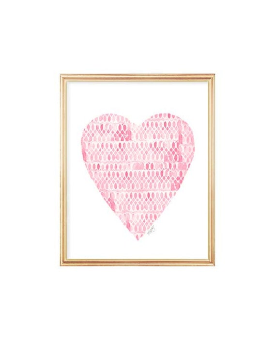 Pink Lacey Heart Print, 8x10