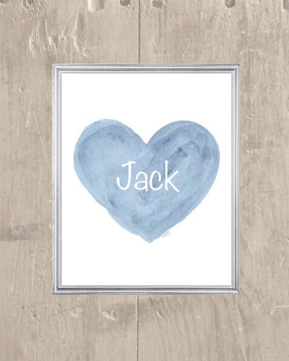 Baby Boy Gift, Personalized Blue Heart Print in 8x10