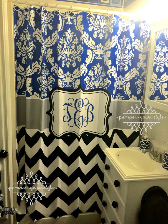damask and chevron shower curtain by pamper your style royal