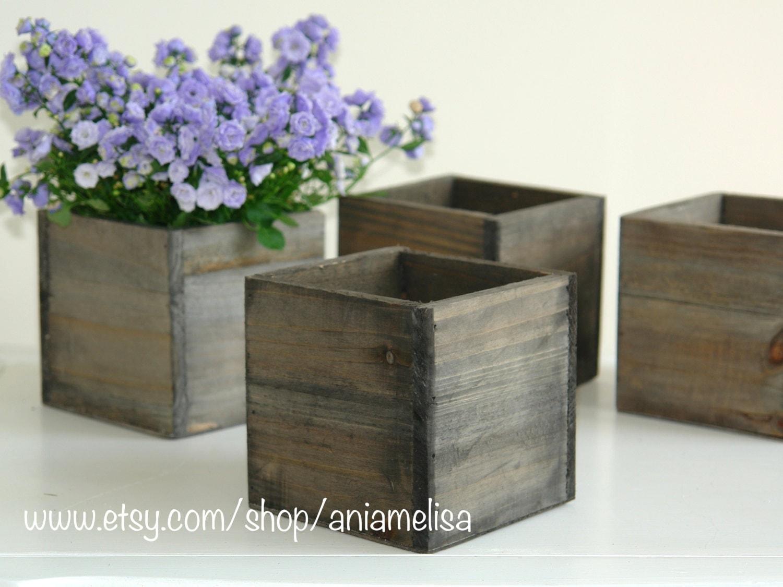 Wood box boxes woodland planter flower rustic pot square