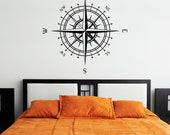 Compass Rose Vinyl Wall or Ceiling Decal (many sizes and colors to pick from, optional 2nd color set of letter coordinates available) K580