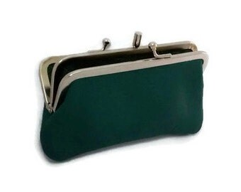 Leather coin purse, kiss lock double frame wallet, soft green money pouch