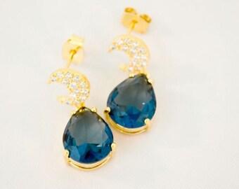 Blue Sapphire Gold Cubic Zirconia Earrings, CZ Gold Drop Earrings