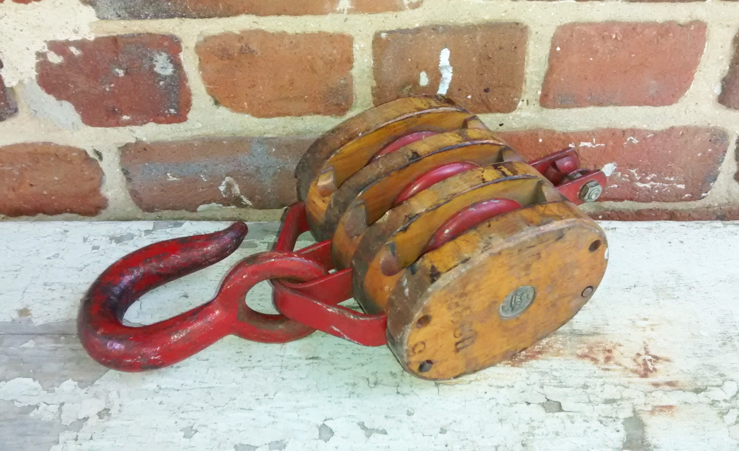 Pulleys And Blocks For Sale : Vintage block and tackle red pulley