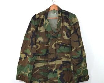 Vintage Camo Jacket Camo Shirt Army Jacket Army Shirt Camouflage Jacket Shirt Military Jacket Camo Shirt Grunge Camo Army Jacket Large