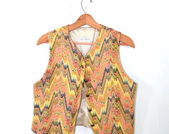 Vintage Vest Southwestern Vest Aztec Vest Tribal Vest Quilted Vest Pastel Vest Womens Vest 80s Vest 80s Southwestern Vest