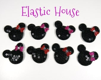 """1.5"""" Sequin Micky Mouse with Bows Padded - Black with Red and Hot Pink Bows - Mickey Padded/Appliques -Hair Accessories Supplies"""