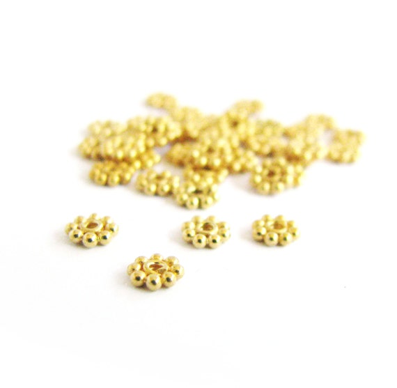 SALE Vermeil 4mm Daisy Spacers 10 pcs SP203 small flat artisan spacer granulated beads