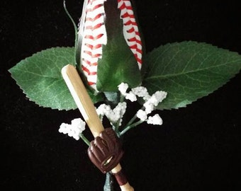 baseball rose boutonniere with bat and glove