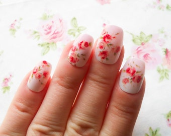 Vintage Flower Nails, Fake Nails, False Nails, Press on, Nails, Acrylic Nails, Floral, Pretty, Cute Nails, Ombre, Pink