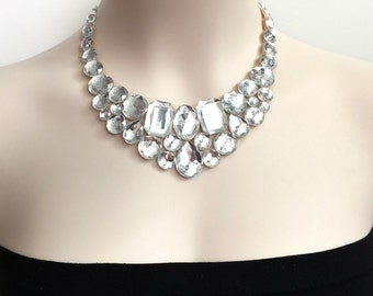 bib rhinestone necklace -crystal clear bib rhinestone necklace party wedding christmas necklace