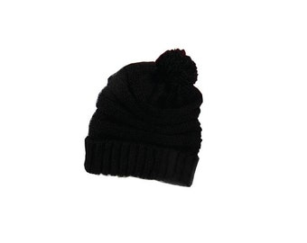 Personalized Throwback Beanie Skull Cap Pom Custom Black Knit Stripe