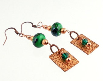 Teal and Copper Nature Inspired Lampwork Earrings, Lampwork Earrings, Fashion Accessories, Gifts