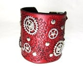 Steampunk leather bracelet , metallic red  cuff with gears ,silver sprockets adjustable straps ,100% handmade