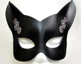 Steampunk Cat Mask / Cat Mask / Black Leather / Leather Mask / Steampunk Mask / Kitty Mask / Gothic / Fetish / Fox / Animal Mask/ Masquerade