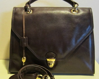 Vintage leather handbag w shoulder strap. Picard, Germany, with lock and key, vg condition